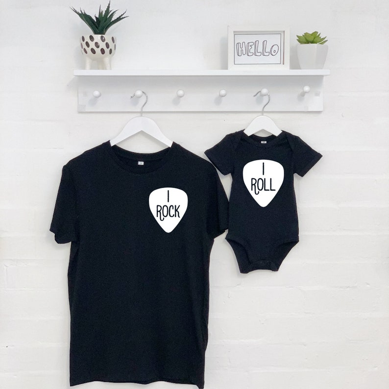 Rock And Roll Dad And Child Set Father and Son Matching T Shirt.
