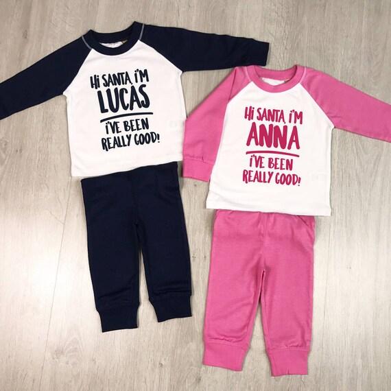 Personalised Names Christmas Green Checked Pyjamas Boys Girls Baby