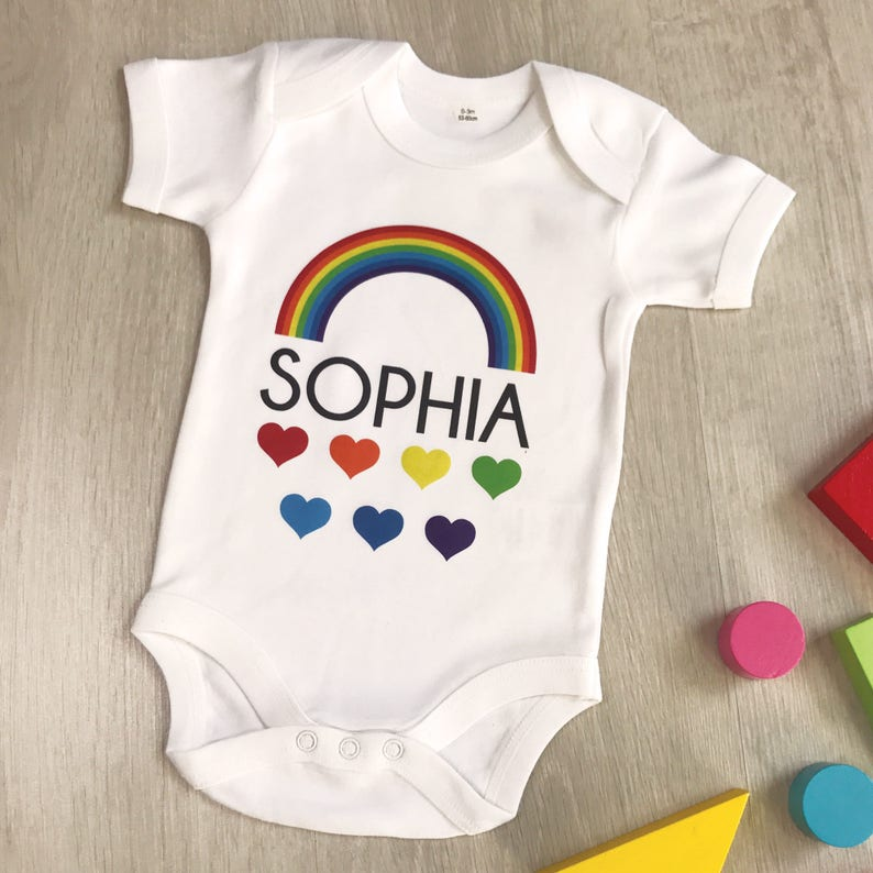 d9b2f41a Personalised rainbow babygrow multi colour babygrow with | Etsy