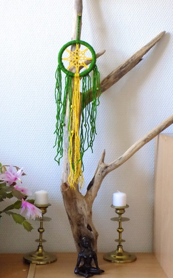 petit attrape r ve atrape r ve color jaune et vert perle de etsy. Black Bedroom Furniture Sets. Home Design Ideas