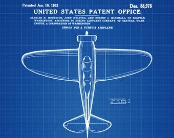 Boeing P-29 Patent - Vintage Aviation Art, Airplane Blueprint, Pilot Gift, Airplane Poster, Airplane Art, Boeing Patent