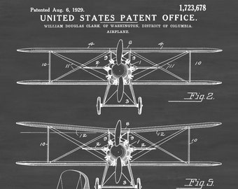 Biplane Patent Print - Vintage Airplane, Airplane Blueprint, Airplane Art, Pilot Gift,  Aircraft Decor, Airplane Poster, Biplane Patent
