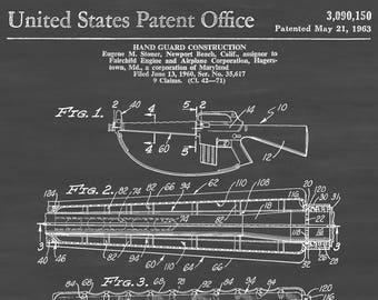 rifle hand guard patent - patent print, wall decor, gun art, firearm art,  rifle patent, ar-15 patent, firearm patent, military gift, m16