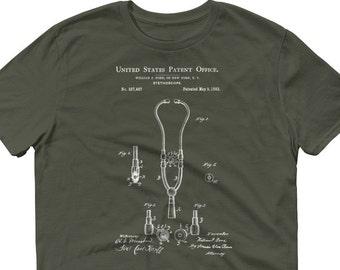Stethoscope Patent Blueprint Doctor Paramedic Nurse T-Shirt
