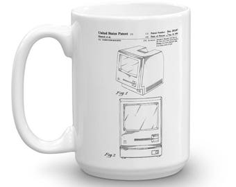 Apple Macintosh Computer Patent Mug - Vintage Computer, Geek Gift, Macintosh Mug, Apple Patent, Old Patent Mug, Steve Jobs Patent, Apple Mug