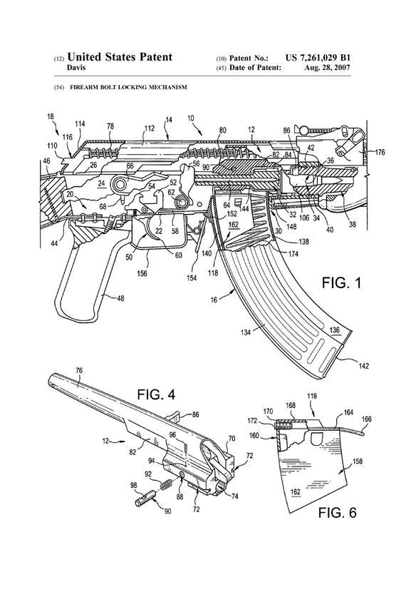 AK-47 Gewehr Bolt Lock Patent - Patent, drucken, Wand-Dekor, Pistole, on