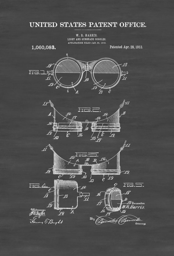 411 Official Welder Goggles US Patent Art Print Vintage Steampunk Welding Mask