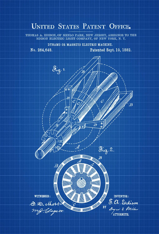 Edison Dynamo Electric Generator Patent 1882 Prints Etsy Schematic Diagram Of Disk