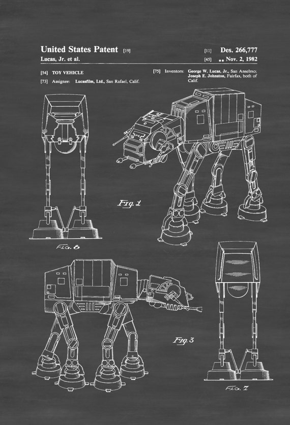 Star Wars Walker Patent Poster Patent Print Wall Decor Imperial Walker Star Wars Art Star Wars Gift Robot Patent
