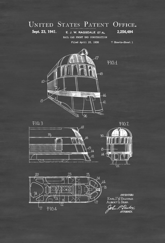 Zephyr-Zug-Patent Print Vintage-Zug-Auto Zug Blaupause