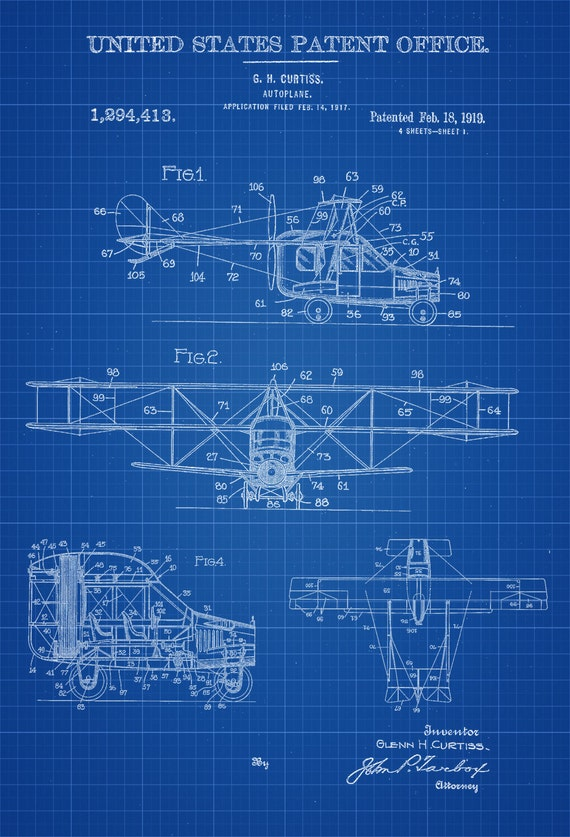 Flying Car Patent Vintage Airplane Airplane Blueprint Etsy