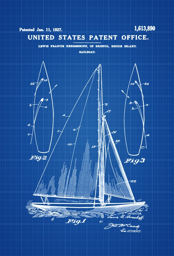 Herreshoff Sail Boat Patent Print Vintage Sailboat Boat