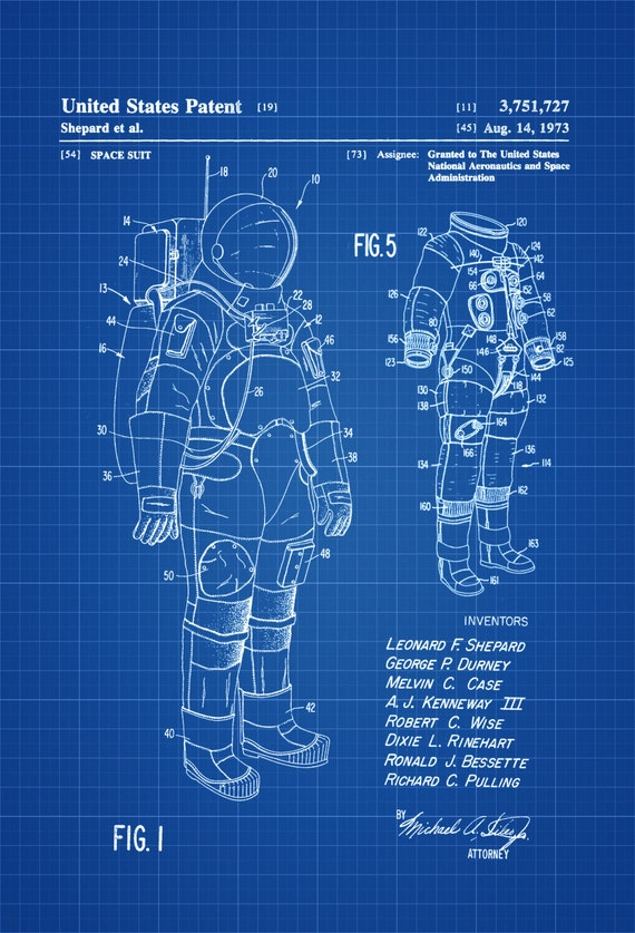 Apollo Space Suit Patent Astronaut Space Art Space Poster Etsy
