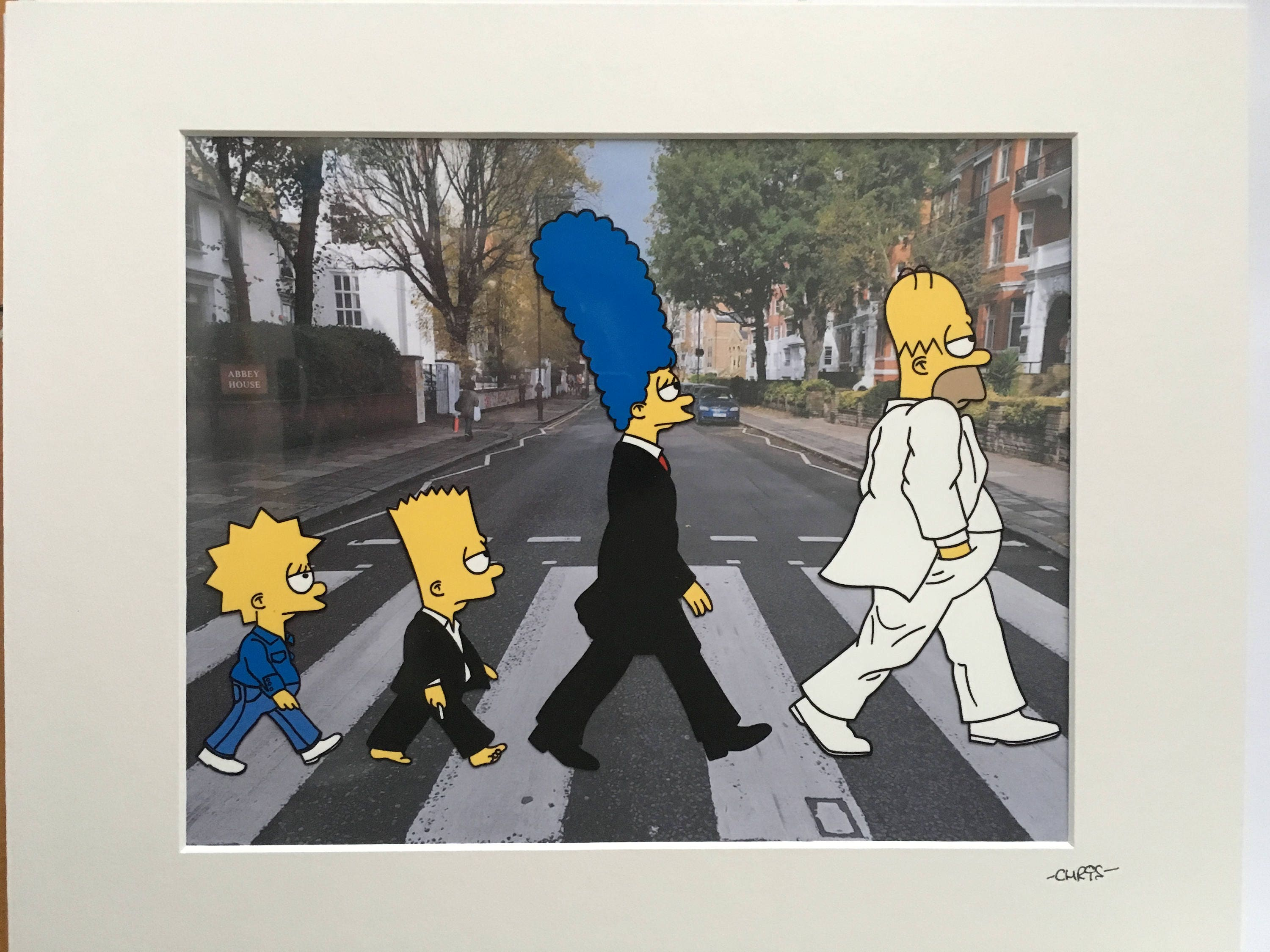 The simpsons abbey road crossing hand drawn hand etsy - The simpsons abbey road wallpaper ...