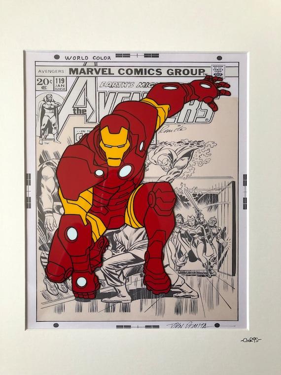 Marvel The Avengers Cartoon Iron Man Hand Drawn Hand Etsy