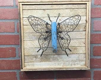 Butterfly, Rustic Butterfly, Butterfly Decor, Butterfly Wall Art Farmhouse Decor, Cottage Chic, Rustic Wall Decor, Housewarming Gift