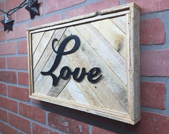 Rustic love, sign, reclaimed wood, wall decor