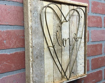 Rustic Love sign, Love Home Decor, Rustic Home Decor, Rustic Heart Decor, Housewarming, Heart Decor, Rustic Wall Decor, Valintine's Gift