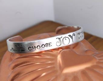Choose Joy Hand Stamped Aluminum Cuff Bracelet