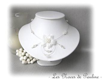 White Crystal 'Tradition' EVA symmetrical silk flower bridal necklace
