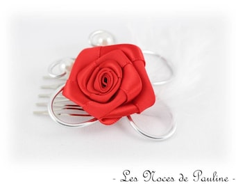 Red White Pink scroll work, wedding jewelry comb