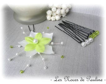 Set of green and white silk flower hair pins wedding has it