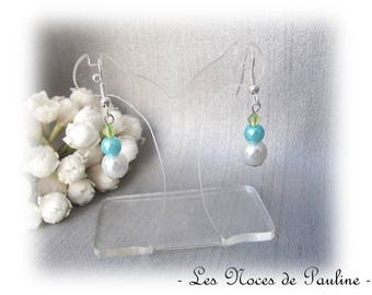 Earrings turquoise, green and white dangle earrings