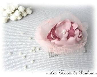 Haircomb old rose flower, Camellia, handmade fascinator comb, wedding accessory