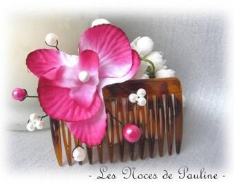 Wedding white fuchsia orchid flower hair comb