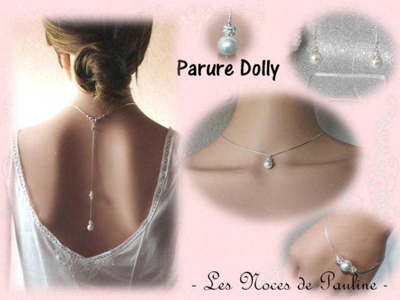 back necklace Ivory wedding adornment Pearls and rhinestones Dolly necklace Back jewel Jewelry