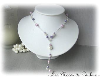 Purple and ivory wedding Lara pendants necklace