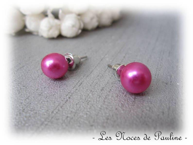 Stud Earrings Fuchsia earrings hot pink Pearl 8 mm Stud pierced beads Stud Earrings