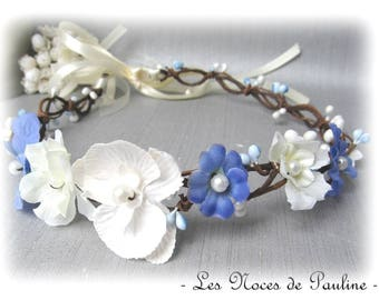 Blue and ivory wedding Orchid bridesmaid Fascinator hair wreath