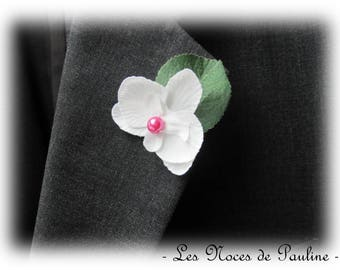 Fuchsia Orchid and white wedding boutonniere