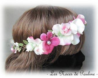 Crown wedding flower fuchsia and white Fiona has witness bridesmaid Fascinator