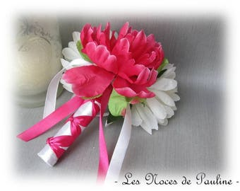 Fuchsia wedding bouquet and white Lord Camellia PM