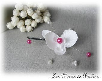 White Barrette and fuchsia Orchid wedding has horses, peaks hair pins jewelry