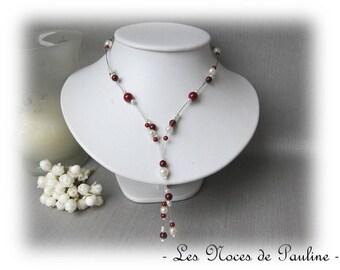 Burgundy and ivory wedding Lara pendants necklace