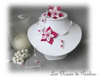 White silk flower wedding set has Julia 3 pieces