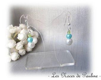 Earrings turquoise, green and white dangle earrings