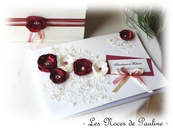 Livre d/'or Bordeaux Or Strass Coeur Clé Anneaux Mariage Cadeau