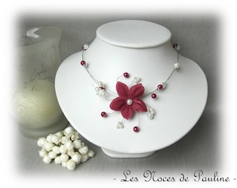 Burgundy Garnet and white wedding flower silk Cecilia necklace