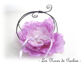 Purple ring pillow flower rings wedding gift wedding