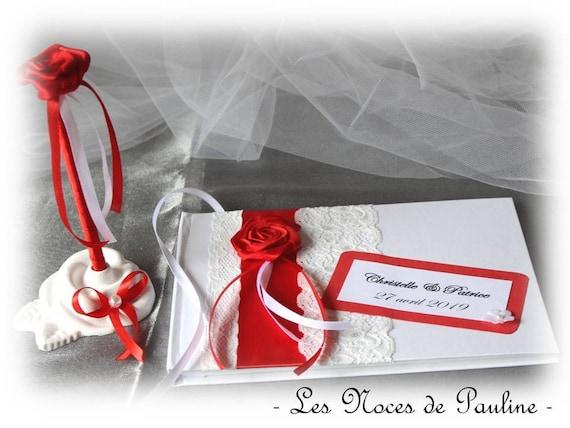 Ensemble Livre D Or Urne Et Stylo Mariage Rouge Et Blanc Dentelle Album Photos Personnalise Tirelire Mariage Rose Rouge Et Blanc