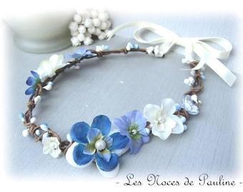 Crown Royal and white blue bridal floral hair bridesmaid Fascinator