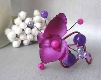 Purple and fuchsia Orchid Anais, Orchid bracelet flower bracelet wedding bracelet