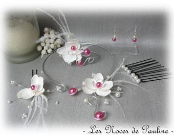 Feathers and fuchsia Orchid and ivory wedding set has Carla 10 pieces