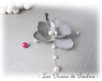 Light gray child Barrette and fuchsia Orchid wedding ceremony bridesmaid