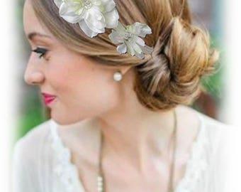 Headband ivory wedding Satin Flowers Alison, Ivory Flower Hair Jewel, Ivory Wedding Flower Wedding Ornament
