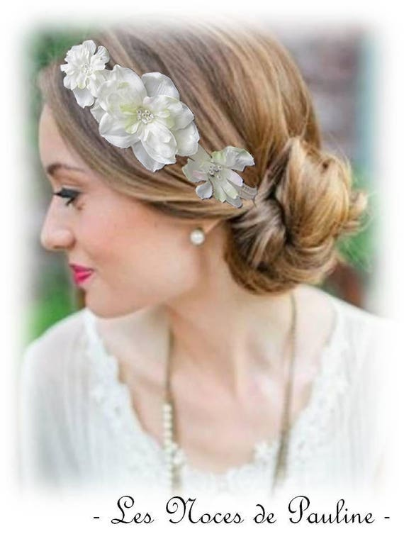 professionnel de premier plan Achat/Vente Royaume-Uni disponibilité Headband mariage ivoire Satin Fleurs Alison, Bijou de cheveux à fleurs  ivoire, ornement de coiffure mariage ivoire à fleur